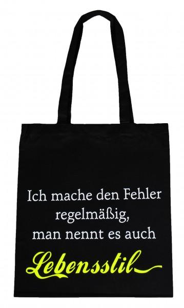 Lebensstil ... Baumwollbeutel, Tasche, Bag - witziger Spruch Neon Shopper