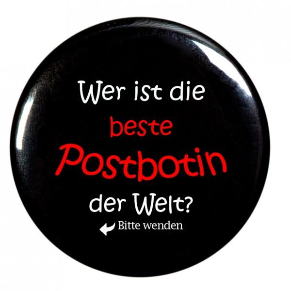 """""""Wer ist die beste Postbotin der Welt """" Taschenspiegel, Spiegel, Button, rund, 56mm Durchmesser"""
