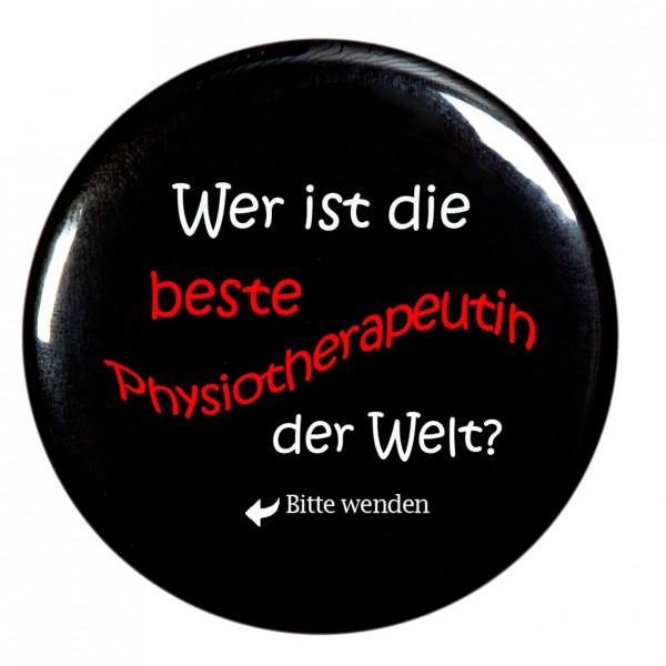 beste Physiotherapeutin Taschenspiegel, Spiegel, Button, rund, 56mm Durchmesser