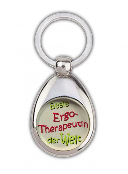 """""""Beste Ergotherapeutin der Welt"""" beige, Schlüsselanhänger,mit Einkaufswagenchip in Magnethalterung"""