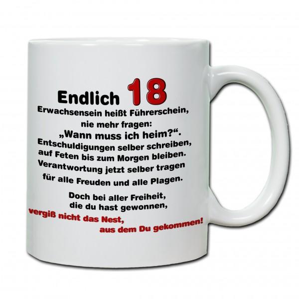 """""""18. Geburtstag - Tasse 09"""" Tasse, Keramiktasse"""