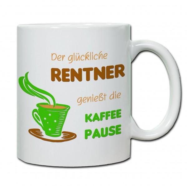Der Glückliche Rentner genießt die Kaffepause Tasse, Keramiktasse