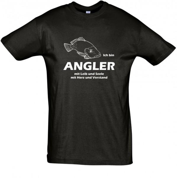 Angler mit Leib und Seele ... T-Shirt, Fun-T-Shirt - bedruckt mit Flexfolie