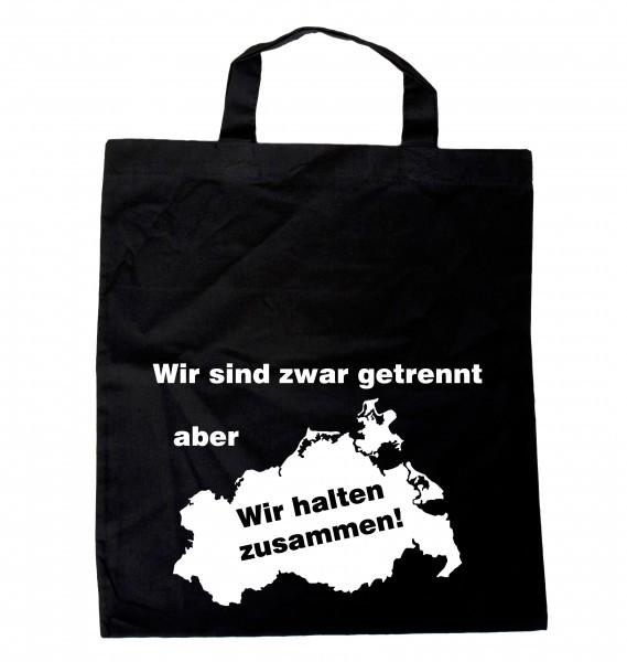 """""""Wir sind zwar getrennt, aber... Mecklenburg-Vorpommern Einkaufsbeutel mit Spruch schwarz"""