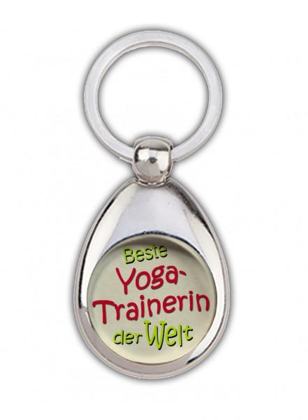 """""""Beste Yogatrainerin der Welt"""" Schlüsselanhänger, beige, mit Einkaufswagenchip in Magnethalterung"""