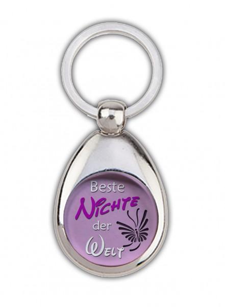 """""""Beste Nichte der Welt"""" rosa, Schlüsselanhänger mit Einkaufswagenchip in Magnethalterung"""