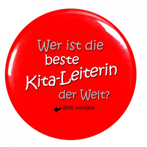 beste Kita-Leiterin Taschenspiegel, Spiegel, Button, rot, rund, 56mm Durchmesser