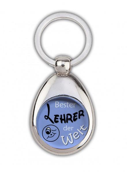 """""""Bester Lehrer der Welt"""" blau, Schlüsselanhänger mit Einkaufswagenchip, in Magnethalterung"""
