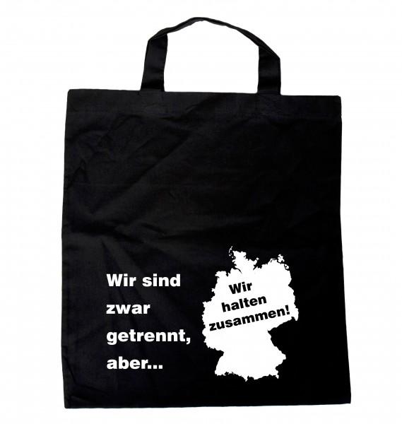 """""""Wir sind zwar getrennt, aber... Deutschland"""" Einkaufsbeutel mit Spruch schwarz"""