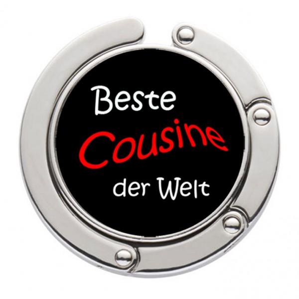 """""""Beste Cousine der Welt"""" Taschenhalter mit magnet. Gliederhalterung - Taschenhaken & Handtaschenhalter"""