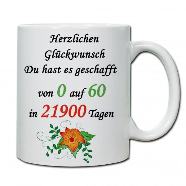 """""""60. Geburtstag - Tasse 02"""" Tasse, Keramiktasse"""
