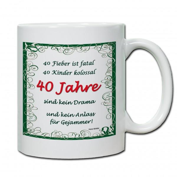 """""""40. Geburtstag - Tasse 01"""" Tasse, Keramiktasse"""