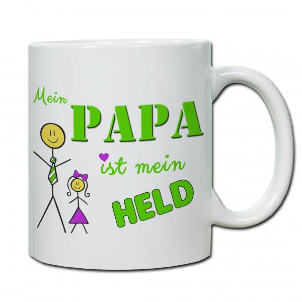 Tasse zum Vatertag Mein Papa ist mein Held (Tochter)