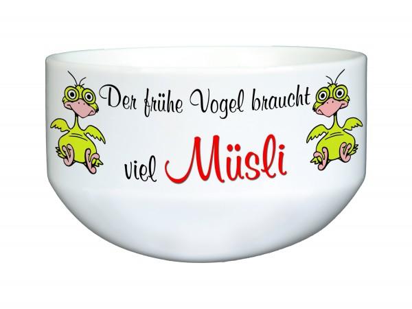 """""""Der frühe Vogel kann mich mal"""" Müslischale, Dekoschale, Suppenschüssel, mit Spruch, ca. 14 cm Durchmesser, weiß"""