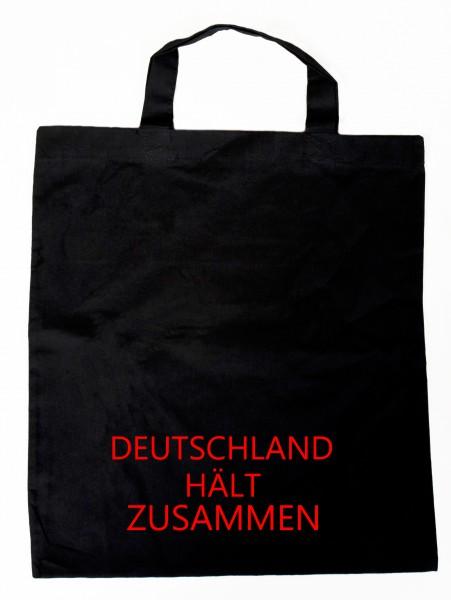 """""""Deutschland hält zusammen"""" Einkaufsbeutel mit Spruch schwarz"""