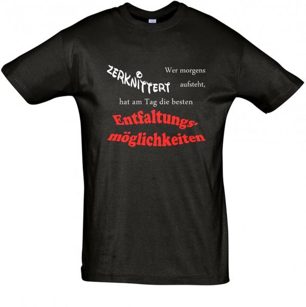 "Wer morgens zerknittert aufsteht, ..."" T-Shirt, Schlaf-Shirt (Foliendruck)"