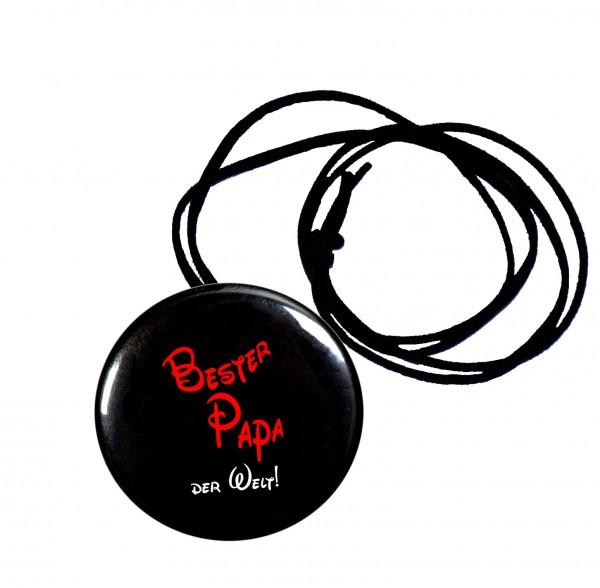Bester Papa runder Flaschenöffner, Button, 56 mm, mit Spruch inkl. Band zum Umhängen