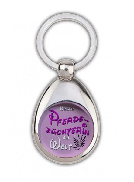 """""""Beste Pferdezüchterin der Welt"""" Schlüsselanhänger, rosa, mit Einkaufswagenchip in Magnethalterung"""