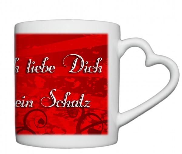 """""""Ich liebe Dich mein Schatz"""", Tasse, Keramiktasse mit Herzhenkel"""