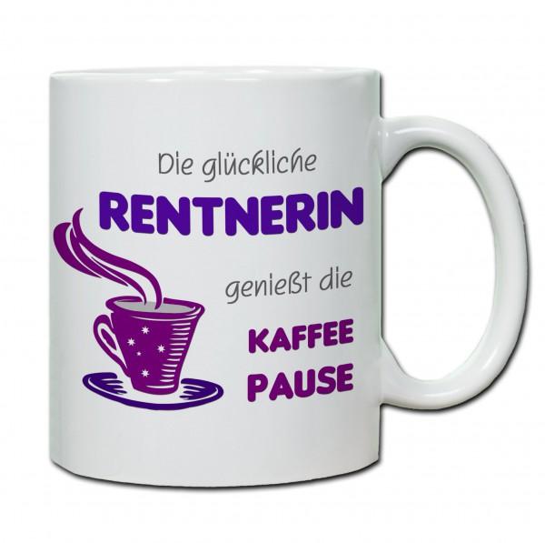 Die Glückliche Rentnerin genießt die Kaffepause Tasse, Keramiktasse