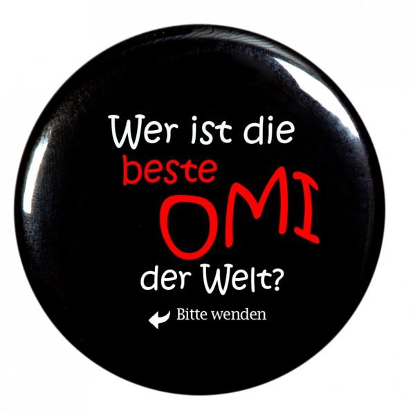 beste Omi Taschenspiegel, Spiegel, Button, rund, 56mm Durchmesser
