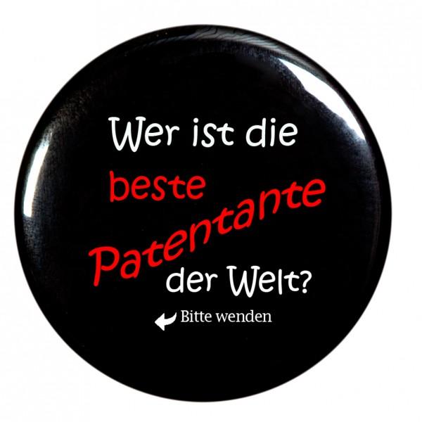 beste Patentante der Welt Taschenspiegel, Spiegel, Button, rund, 56mm Durchmesser