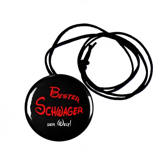 Bester Schwager runder Flaschenöffner, Button, 56 mm, mit Spruch inkl. Band zum Umhängen