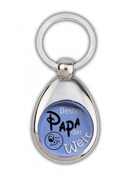 """""""Bester Papa der Welt"""" grün/blau, Schlüsselanhänger mit Einkaufswagenchip in Magnethalterung"""