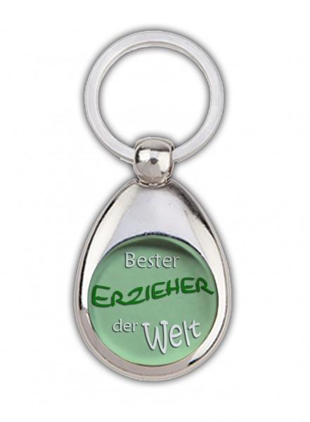 """""""Bester Erzieher der Welt"""" grün, Schlüsselanhänger mit Einkaufswagenchip in Magnethalterung"""