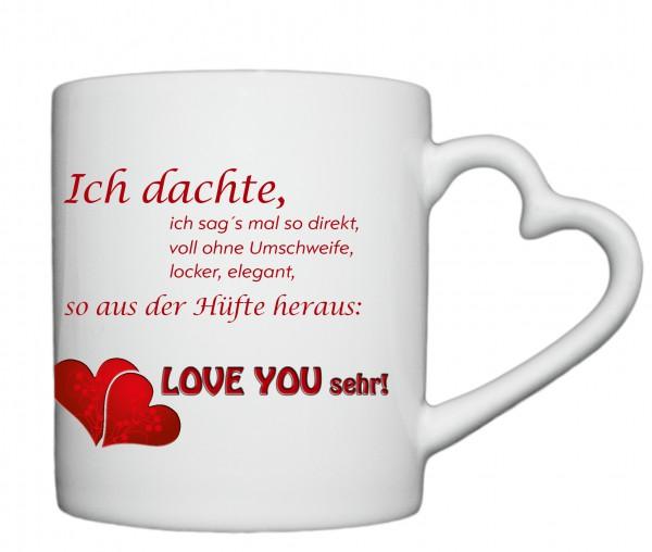 """""""Love you sehr"""", Tasse, Keramiktasse mit Herzhenkel"""