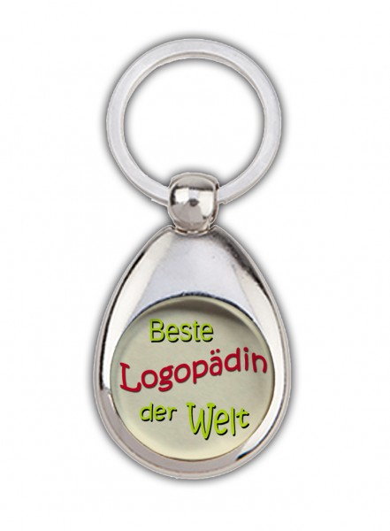 """""""Beste Logopädin der Welt"""" Schlüsselanhänger, beige, mit Einkaufswagenchip in Magnethalterung"""