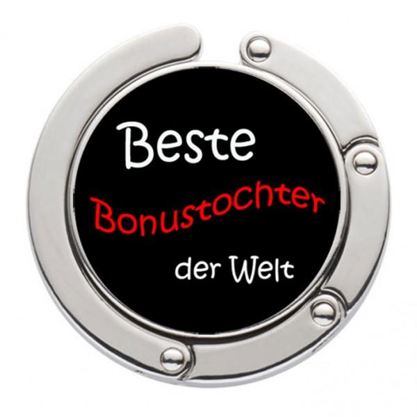 """""""Beste Bonustochter der Welt"""" Taschenhalter mit magnet. Gliederhalterung - Taschenhaken & Handtaschenhalter"""