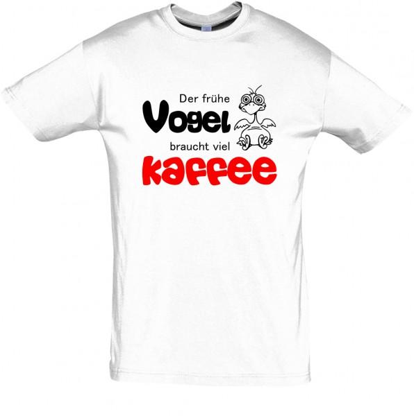 """""""Der frühe Vogel braucht viel Kaffee"""" T-Shirt, Schlaf-Shirt (Foliendruck)"""