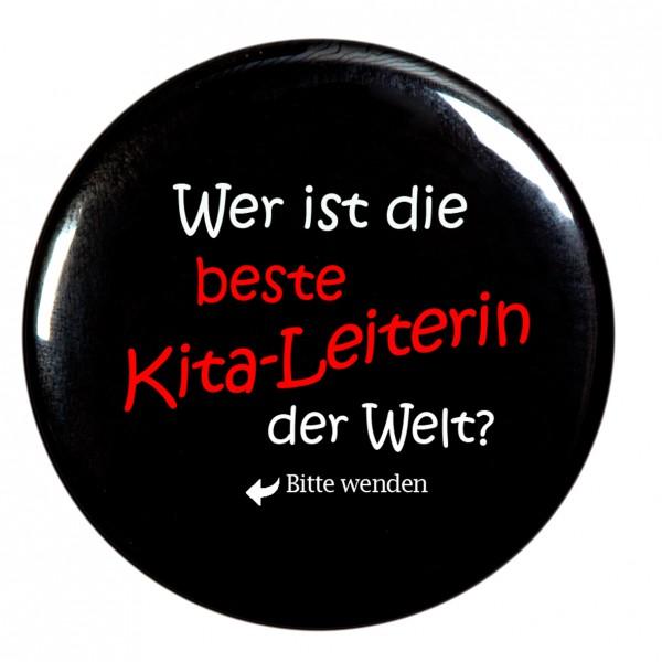beste Kita-Leiterin Taschenspiegel, Spiegel, Button, schwarz, rund, 56mm Durchmesser