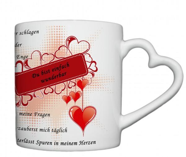 """""""Du bist einfach wunderbar..."""" Tasse, Keramiktasse mit Herzhenkel"""