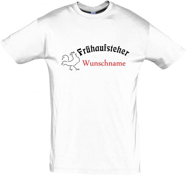 """""""Frühaufsteher"""" mit Wunschname T-Shirt, Schlaf-Shirt (Foliendruck)"""
