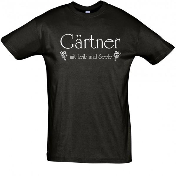 """""""Gärtner mit Leib und Seele"""" T-Shirt, Fun-T-Shirt - bedruckt mit Folie"""