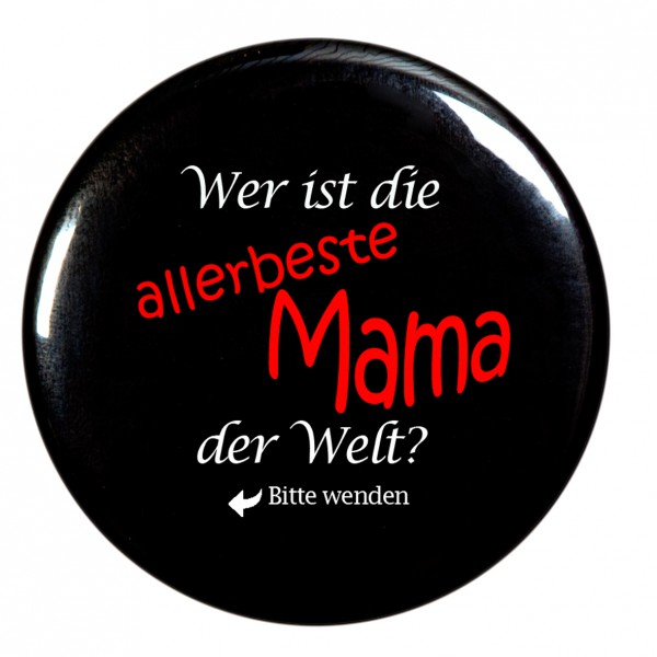 allerbeste Mama der Welt Taschenspiegel, Spiegel, Button, rund, 56mm Durchmesser