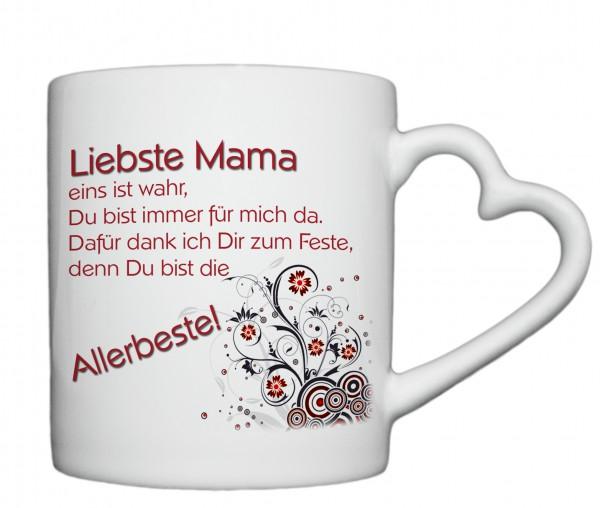"""""""Liebste Mama"""" Tasse, Keramiktasse mit Herzhenkel"""