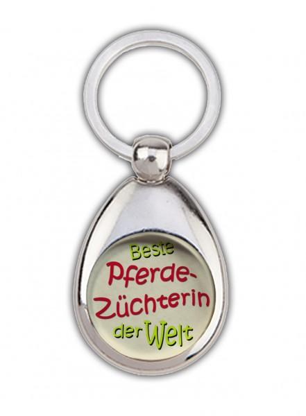 """""""Beste Pferdezüchterin der Welt"""" Schlüsselanhänger, beige, mit Einkaufswagenchip in Magnethalterung"""