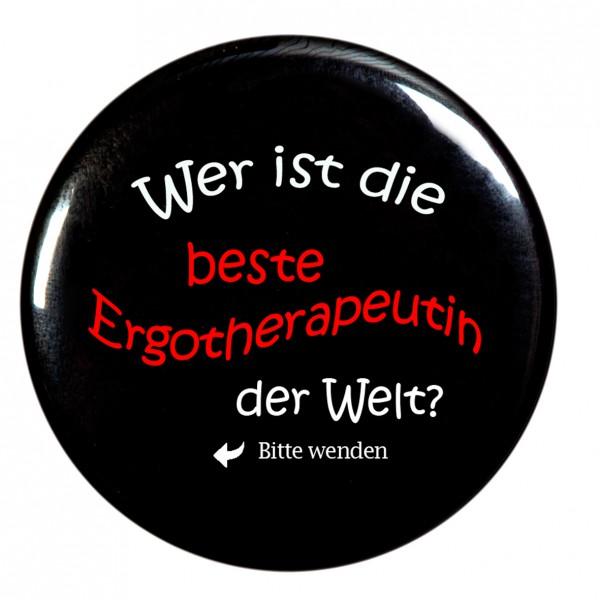 beste Ergotherapeutin Taschenspiegel, Spiegel, Button, schwarz, rund, 56mm Durchmesser