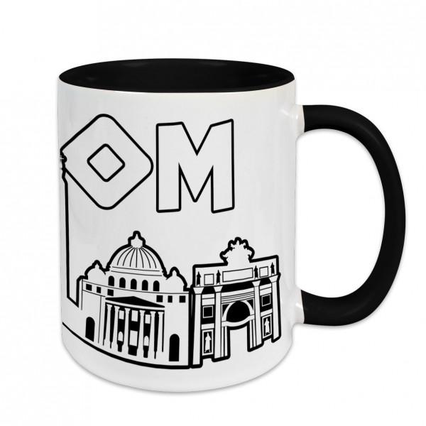 Städtetasse I love Rom weiß Innenfarbe und Henkel schwarz