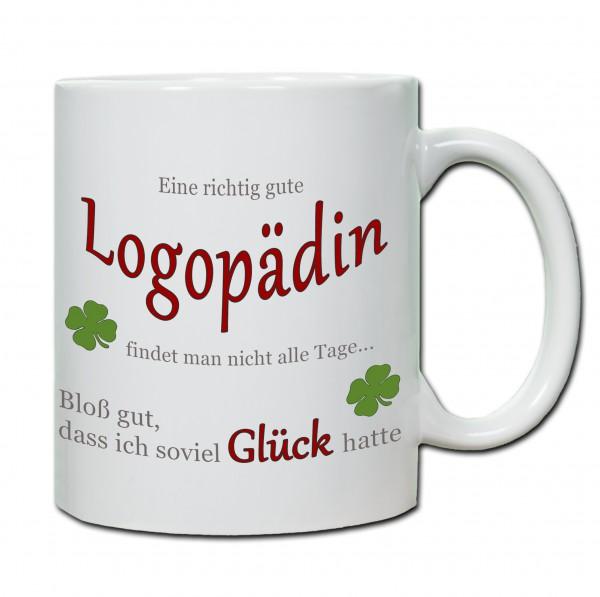 """""""Eine richtig gute Logopädin findet man nicht alle Tage ..."""" Tasse, Keramiktasse"""