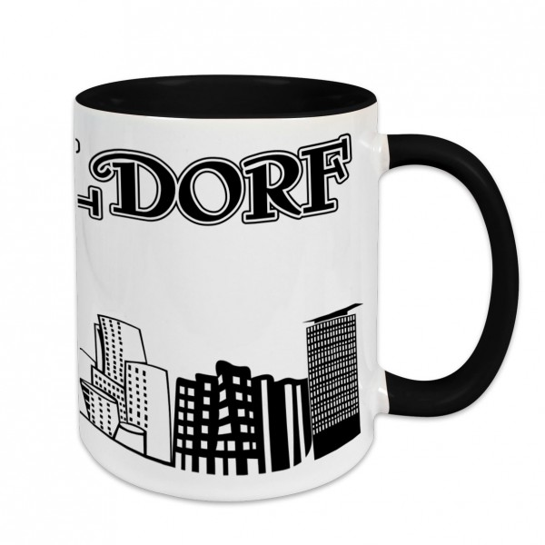 Städtetasse I love Düsseldorf weiß Innenfarbe und Henkel schwarz