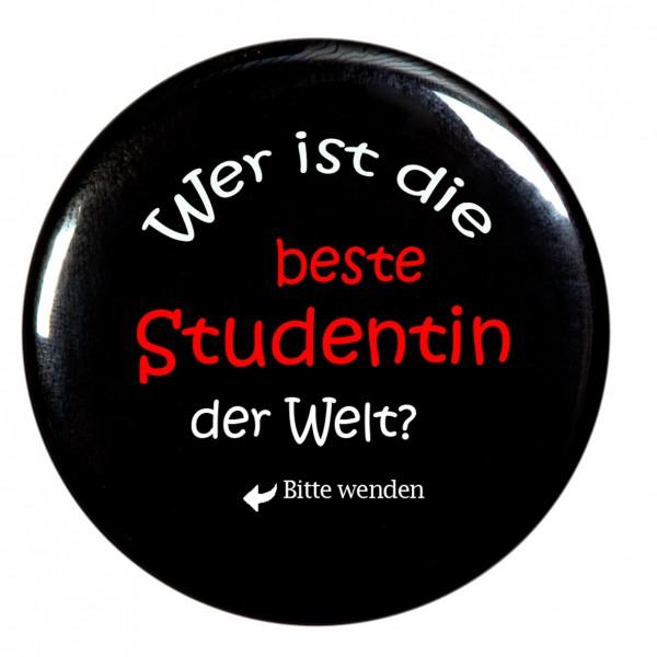 beste Studentin Taschenspiegel, Spiegel, Button, rund, 56mm Durchmesser