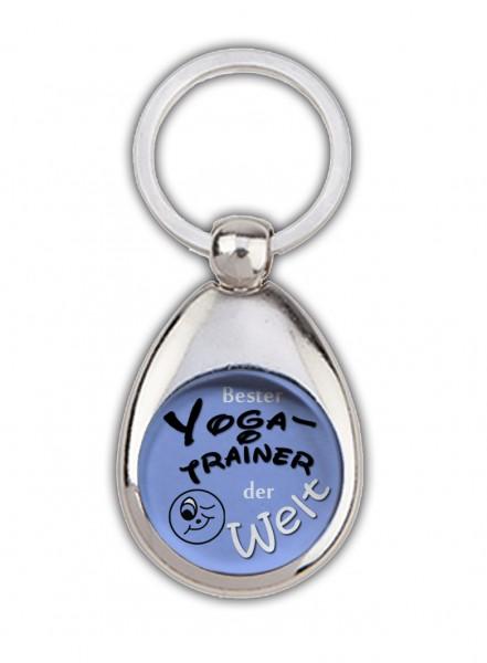 """""""Bester Yogatrainer der Welt"""" blau, Schlüsselanhänger mit Einkaufswagenchip in Magnethalterung"""