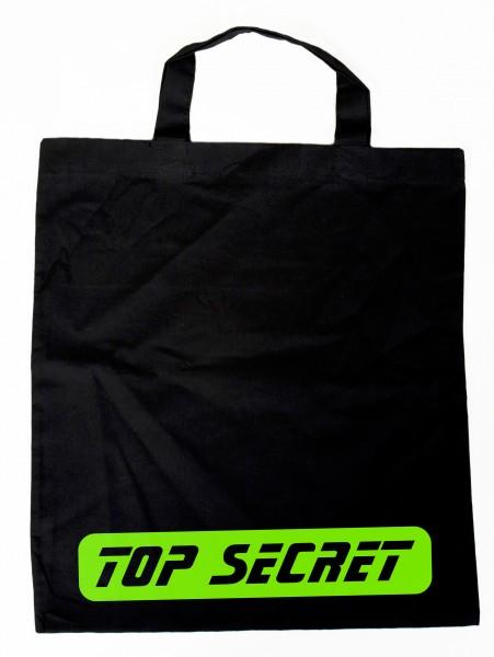 TOP SECRET grün - Baumwollbeutel, Tasche, Bag - witziger Spruch
