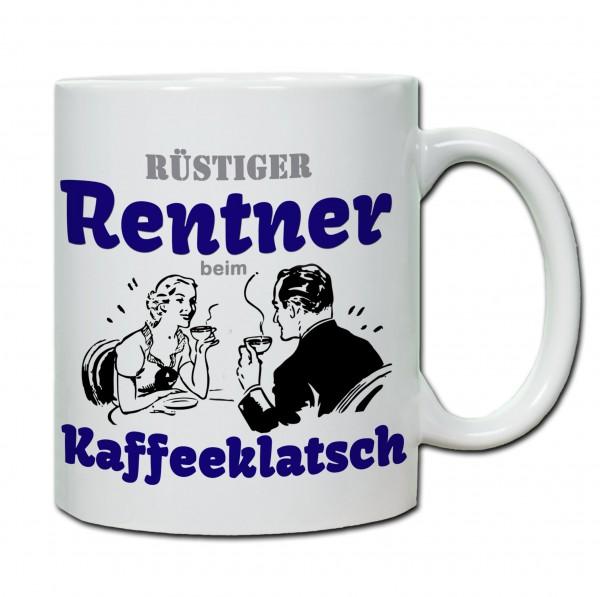 Rüstiger Rentner beim Kaffeeklatsch Tasse, Keramiktasse-Copy