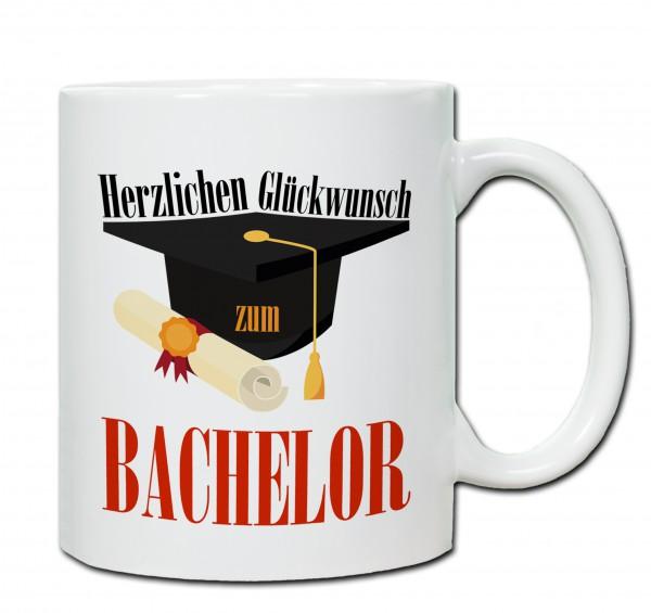 """""""Herzlichen Glückwunsch zum Bachelor"""" Tasse, Keramiktasse"""