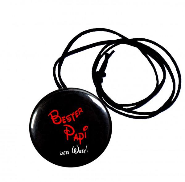Bester Papi runder Flaschenöffner, Button, 56 mm, mit Spruch inkl. Band zum Umhängen